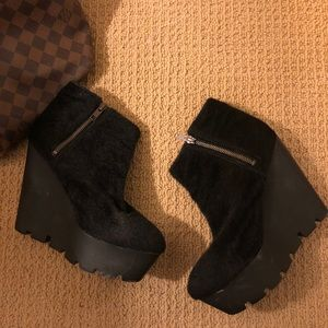 Faux Pony Hair Wedge Booties